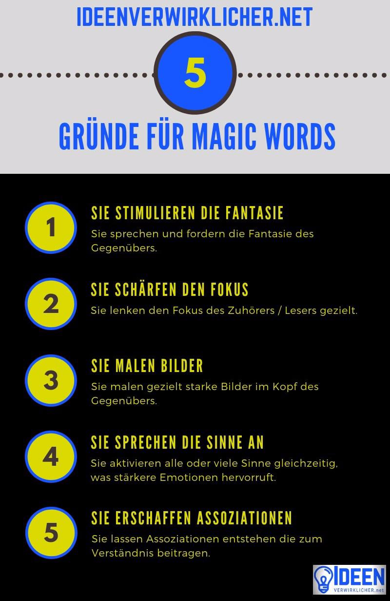 Magic Words stimulieren die Fantasie, schärfen den Fokus, malen Bilder, sprechen die Sinne an und erschaffen Assoziationen
