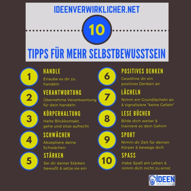 10 Tipps zum mehr Selbstbewusstsein und Selbstvertrauen