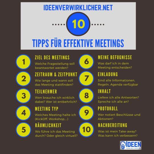 10 Tipps für effektive Meetings.